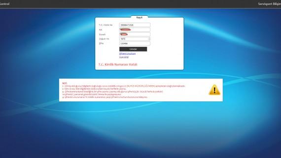 Kullanıcı Kayıt Ekranı Yanlış Bilgi